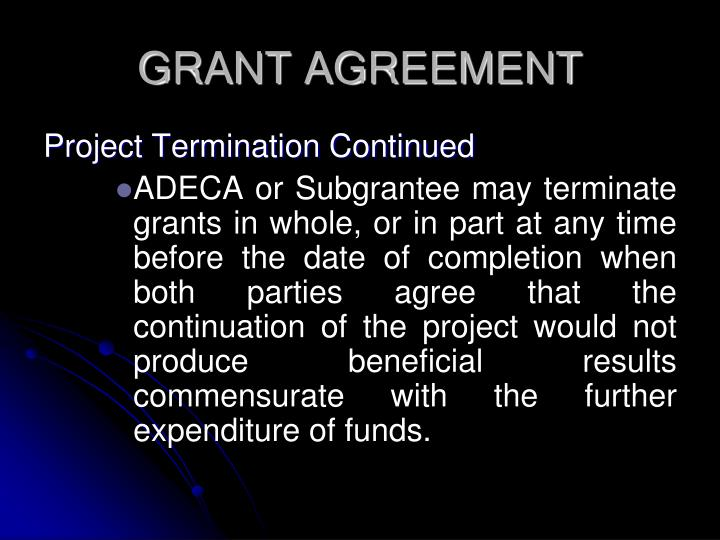 GRANT AGREEMENT