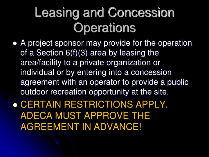 Leasing and Concession Operations