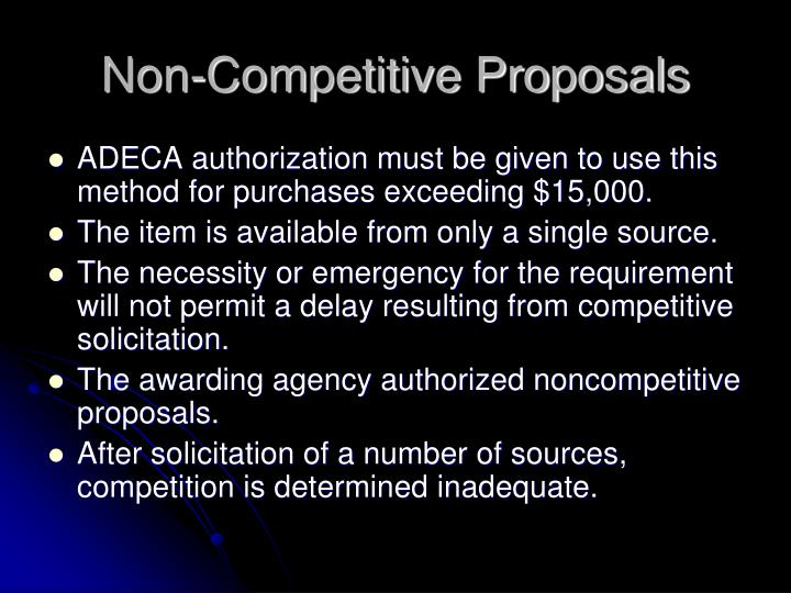 Non-Competitive Proposals