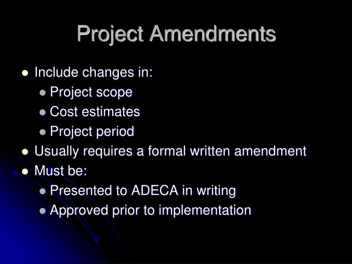 Project Amendments