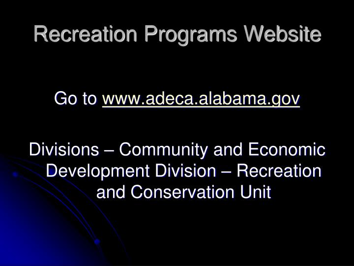 Recreation Programs Website
