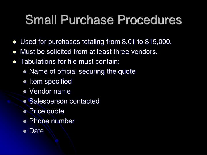 Small Purchase Procedures