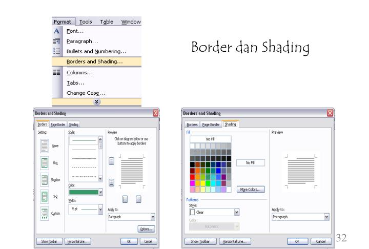 Border dan Shading