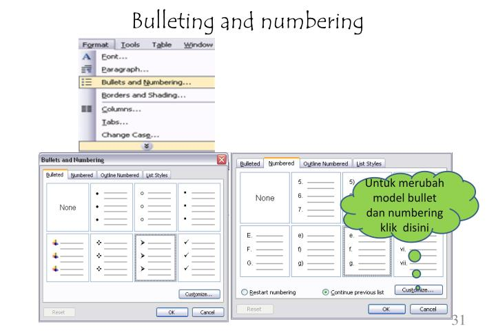 Bulleting and numbering