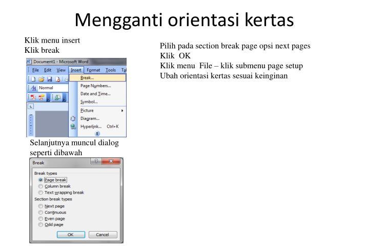 Mengganti orientasi kertas
