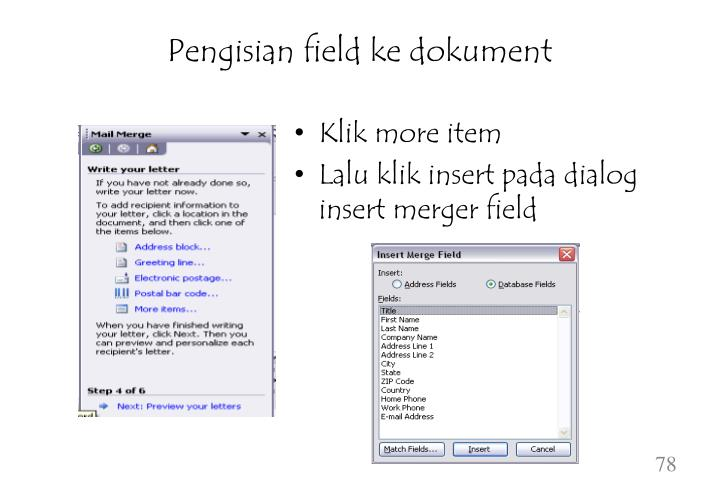 Pengisian field ke dokument