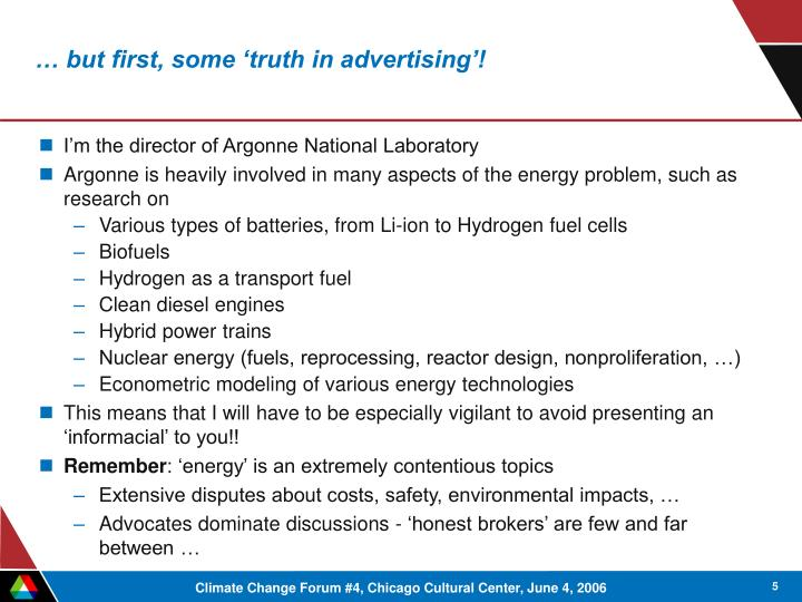 … but first, some 'truth in advertising'!