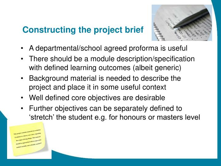 Constructing the project brief
