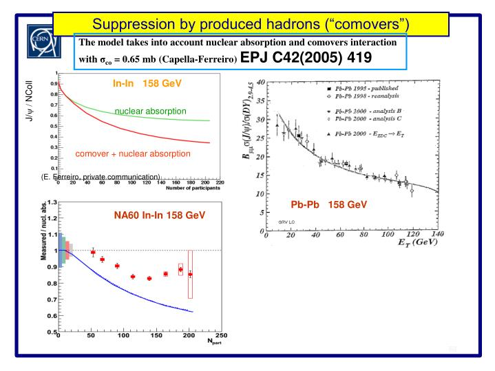 """Suppression by produced hadrons (""""comovers"""")"""