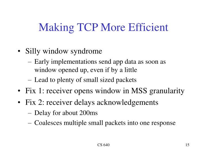 Making TCP More Efficient