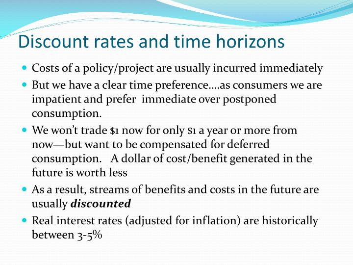 Discount rates and time horizons