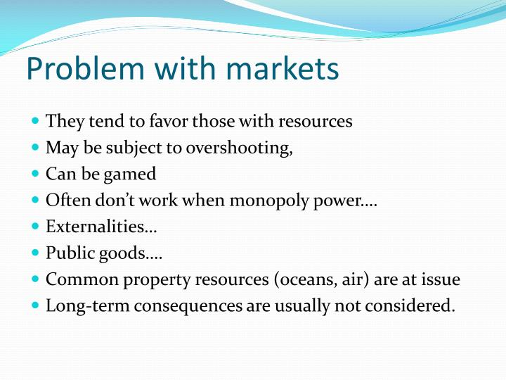 Problem with markets