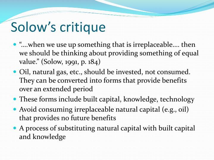 Solow's critique