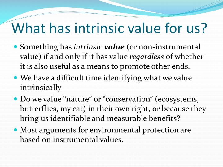 What has intrinsic value for us?