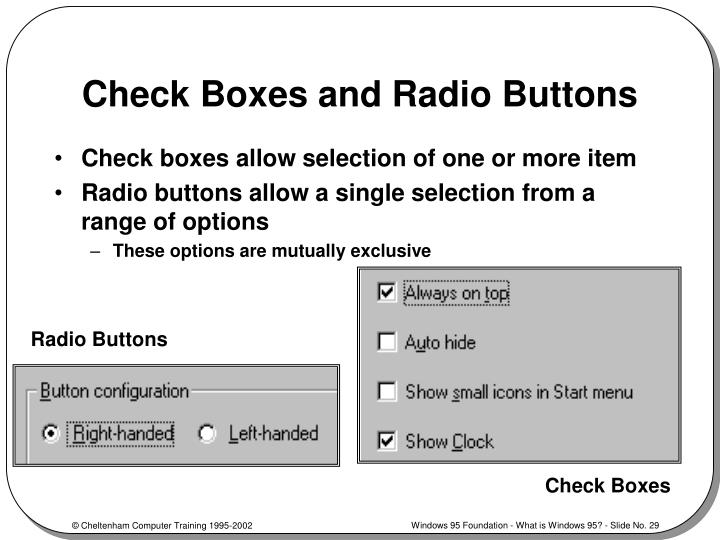 Check Boxes and Radio Buttons