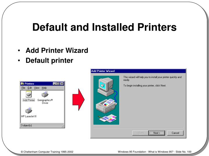 Default and Installed Printers