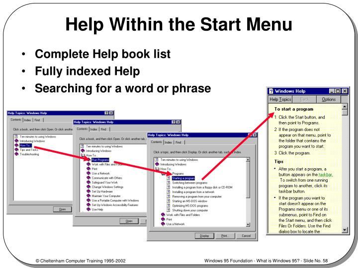 Help Within the Start Menu