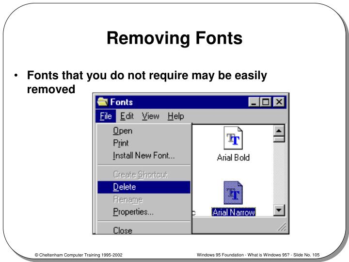 Removing Fonts