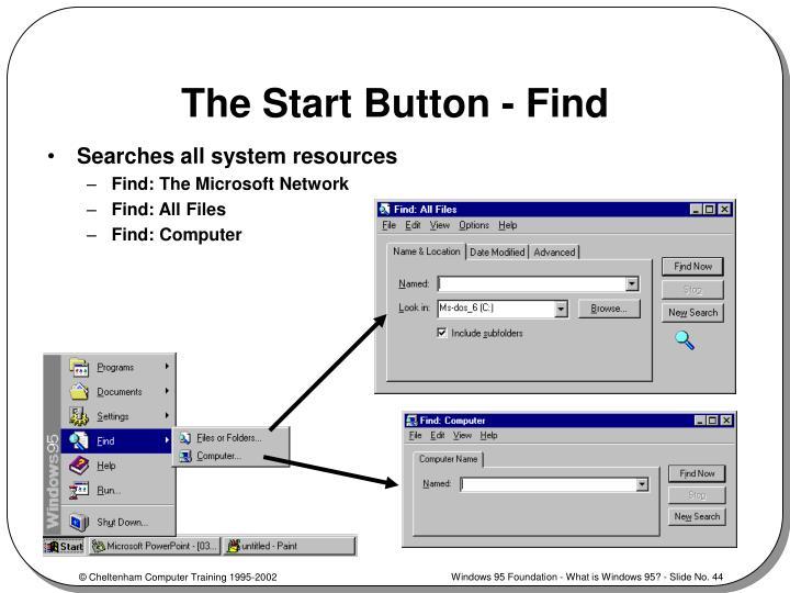 The Start Button - Find
