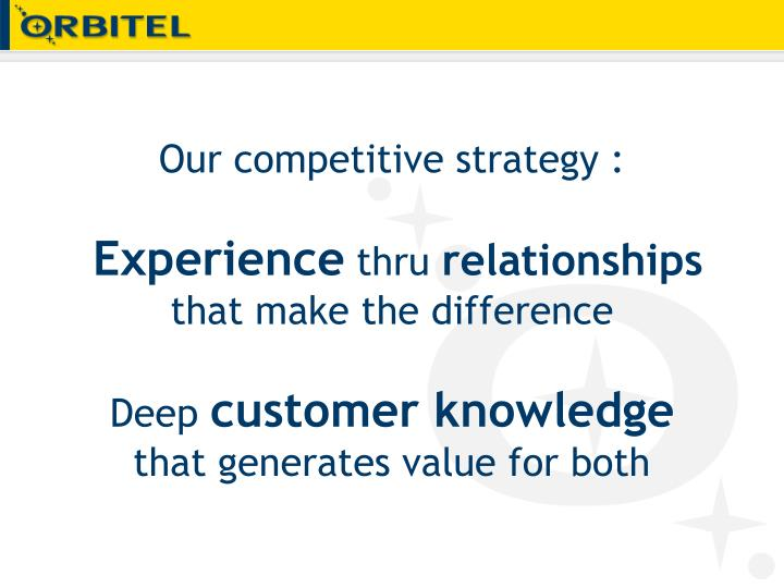 Our competitive strategy :