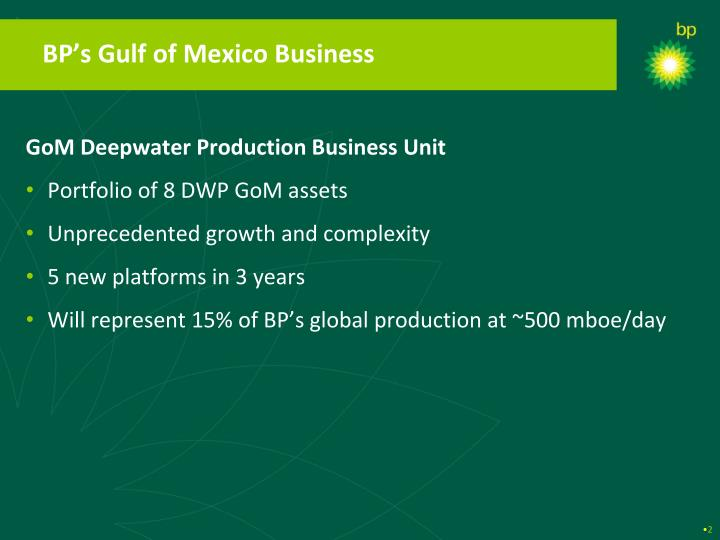 BP's Gulf of Mexico Business