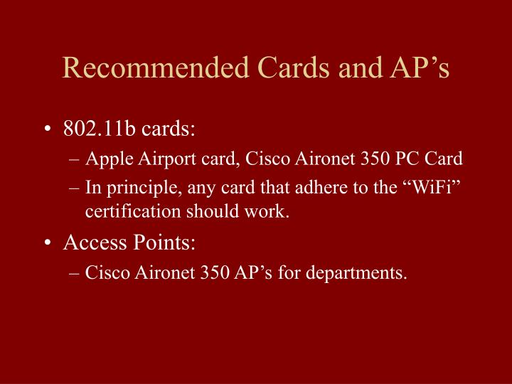 Recommended Cards and AP's
