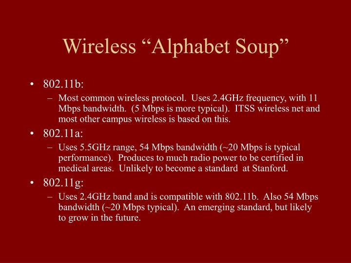 """Wireless """"Alphabet Soup"""""""