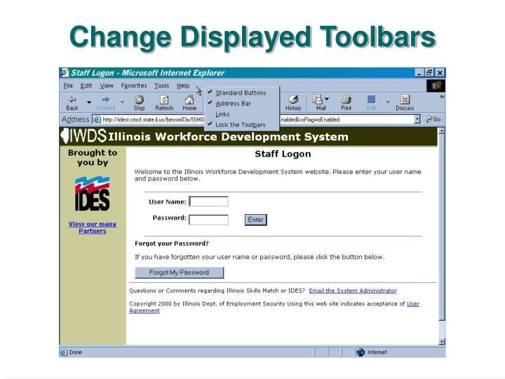 Change Displayed Toolbars