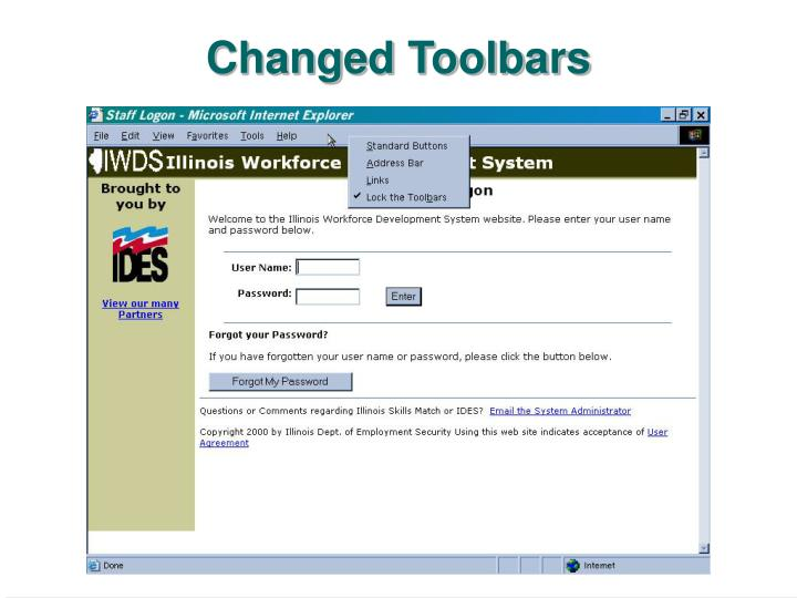 Changed Toolbars
