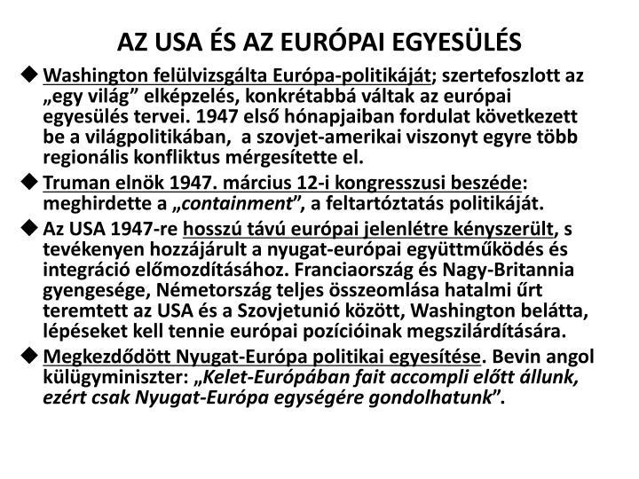 AZ USA ÉS AZ EURÓPAI EGYESÜLÉS