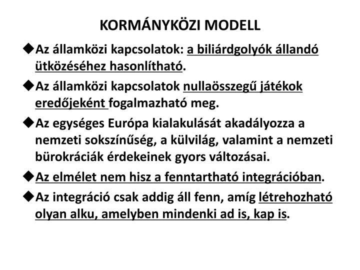KORMÁNYKÖZI MODELL
