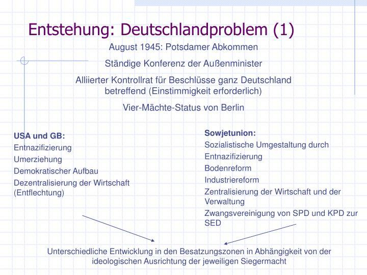 Entstehung deutschlandproblem 1
