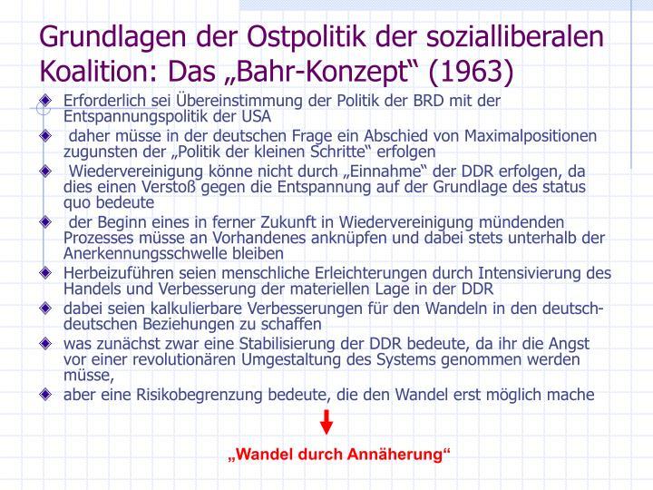 """Grundlagen der Ostpolitik der sozialliberalen Koalition: Das """"Bahr-Konzept"""" (1963)"""