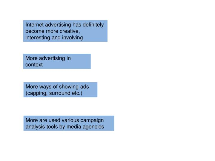 Internet advertising has definitely become more creative, interesting and involving