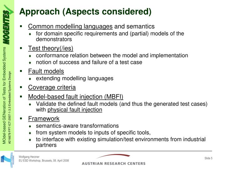 Approach (Aspects considered)