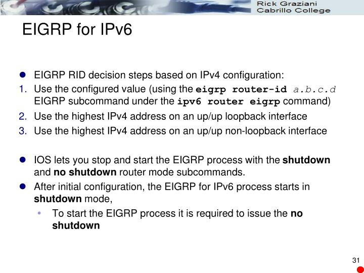 EIGRP for IPv6