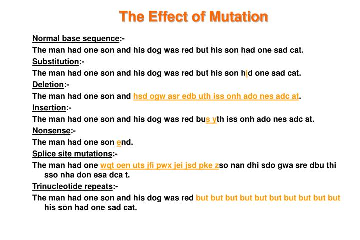 The Effect of Mutation