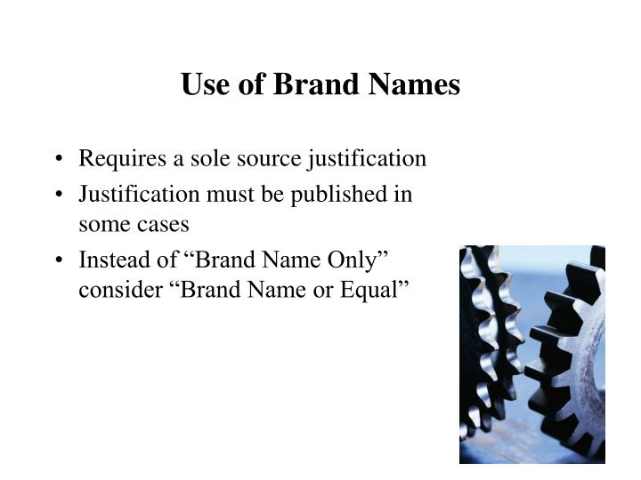Use of Brand Names
