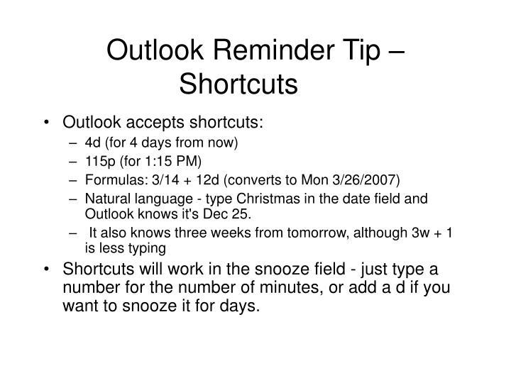 Outlook Reminder Tip –