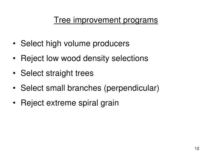 Tree improvement programs