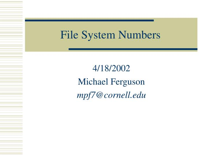 File system numbers