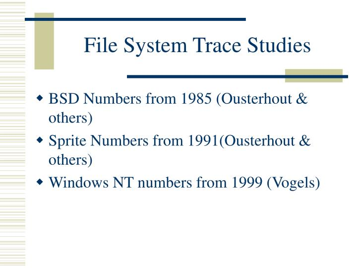 File System Trace Studies