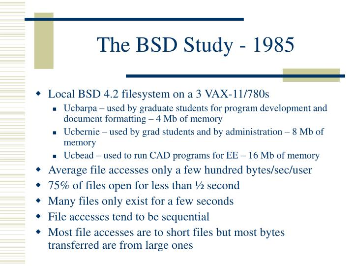 The BSD Study - 1985