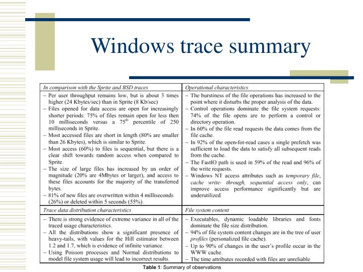 Windows trace summary