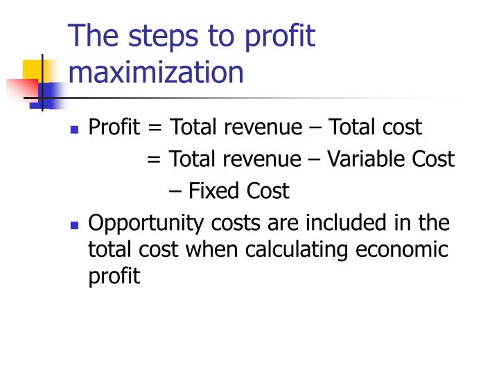 The steps to profit maximization