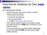 how kernel initializes its own page tables