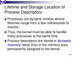 lifetime and storage location of process descriptors