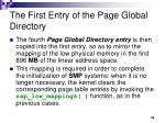 the first entry of the page global directory