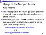 usage of fix mapped linear addresses