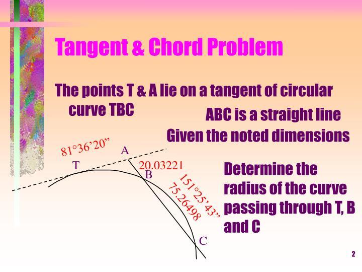 Tangent chord problem